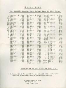 1930s Pricelist from Richard Marklin Toys