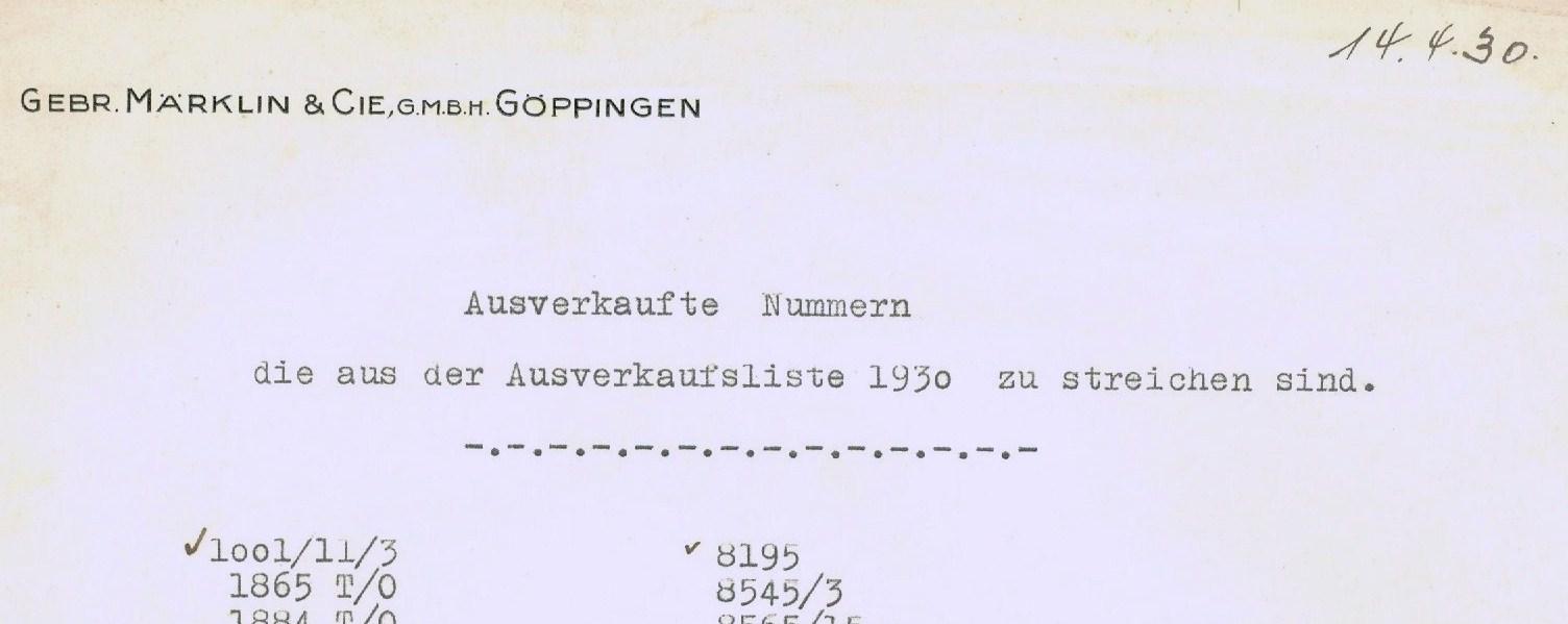 RMT Aufverkaufsliste 1930