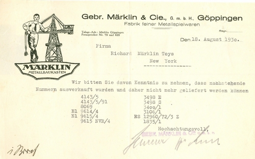 Letter from Marklin to RMT; 1930