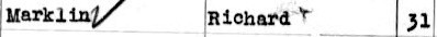 Richard's name on U.S. Immigration papers (1928) - his second trip to New York, USA