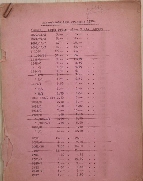 1930 Aufverkaufliste; 1 of 6 pages