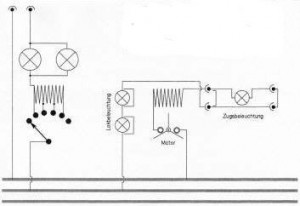 Schematic diagram of direct connection to residential 110/220-volt system.