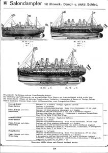 Marklin ocean liner boats from 1909 catalog