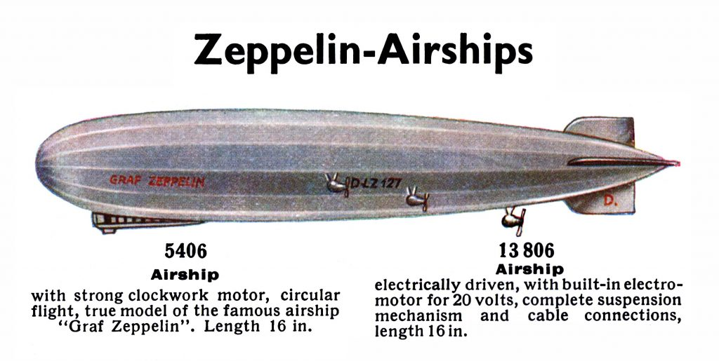 Graf Zeppelin Airship DLZ 127, clockwork or electric, Märklin 5406 and 13806 ( D13 1936/37 ).
