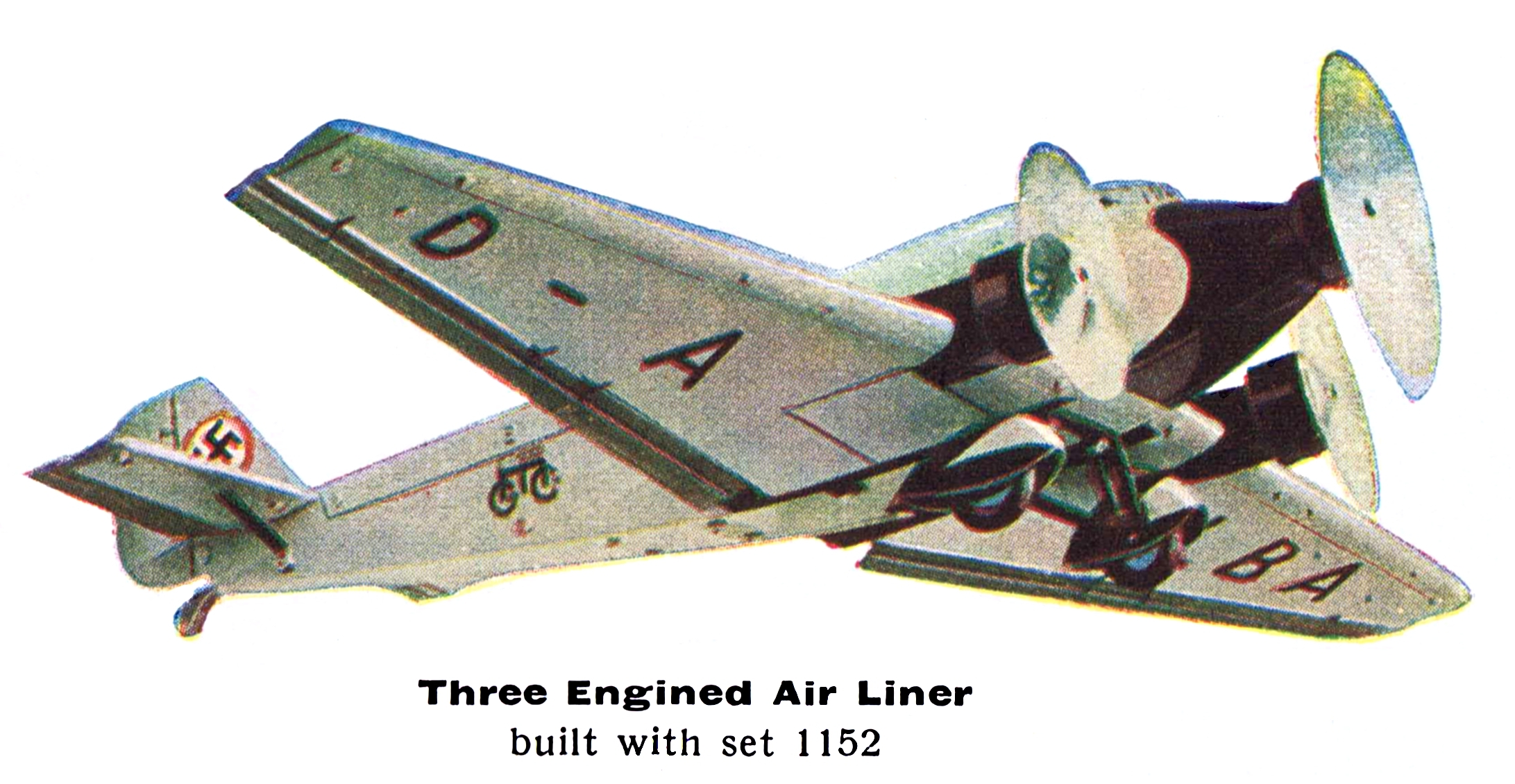 Three Engined Air Liner built with set No.1152, Märklin Aeroplane Construction Sets (edited from Märklin catalogue D13 1936/37)