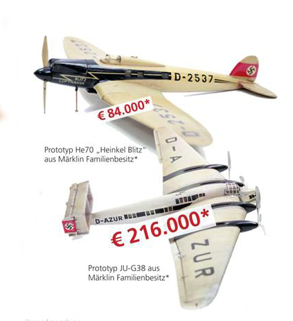 Marklin Prototype Planes from Marklin Family Ownership. Sold in February Auction http://www.auktion-hohenstaufen.de/